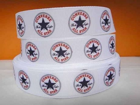 1 METRE OF WHITE CONVERSE RIBBON IN SIZE 7/8 HEADBANDS BOWS CARD MAKING